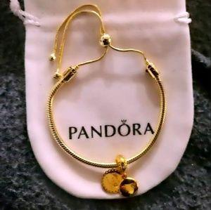PANDORA gold Sliding Bracelet +gold dangle pandora